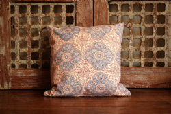 Block print cushion blue and red
